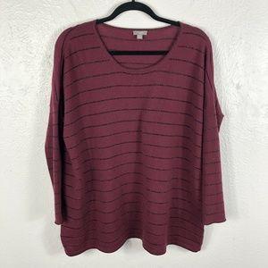 J Jill Size XS Oversized Sweater Purple Striped